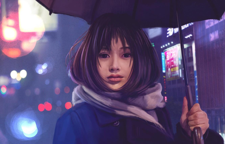 Photo wallpaper Girl, Lights, Figure, Look, Asian, Girl, Hair, Eyes, Umbrella, Umbrella, Brunette, Art, Art, Brunette, Asian, …
