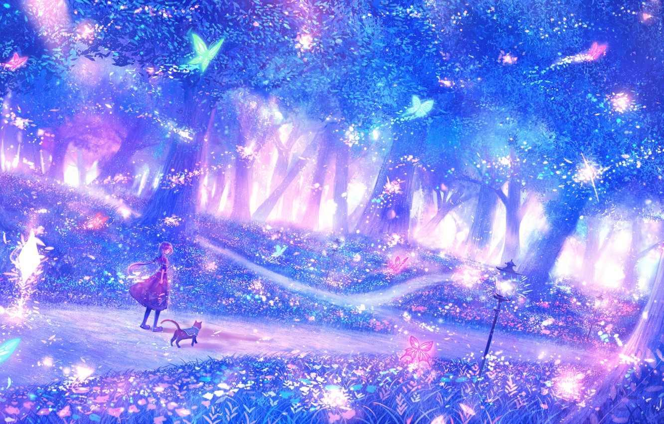 Photo wallpaper forest, girl, fantasy, fairy forest