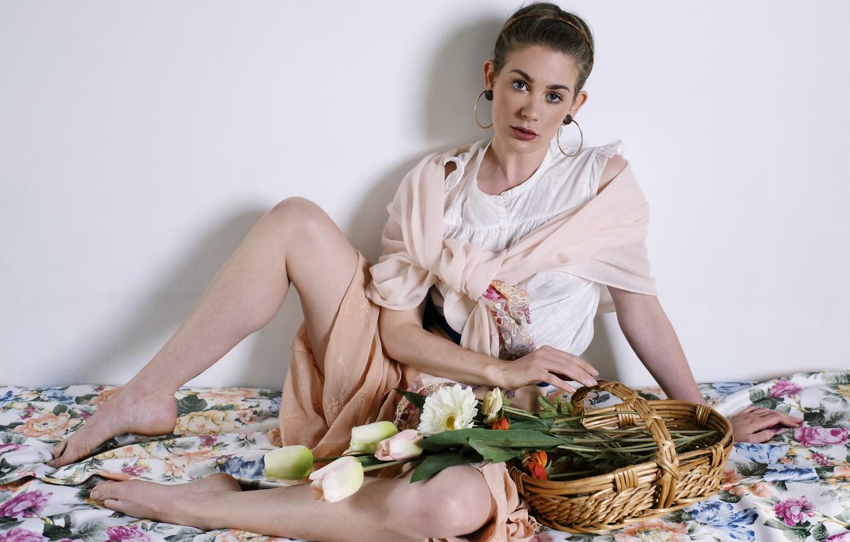 Photo wallpaper girl, flowers, basket