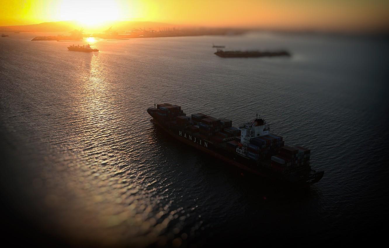 Photo wallpaper Sunset, Sea, The ship, A container ship, Vessel, Hanjin, A cargo ship, Container Ship, Hanjin …