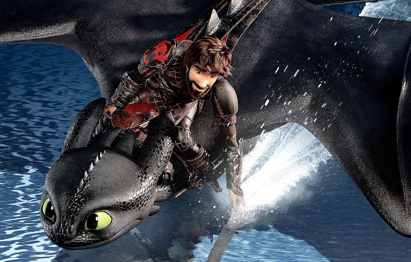 Photo wallpaper water, squirt, black, dragon, cartoon, Hiccup, Toothless, How to Train Your Dragon: The Hidden World, ...