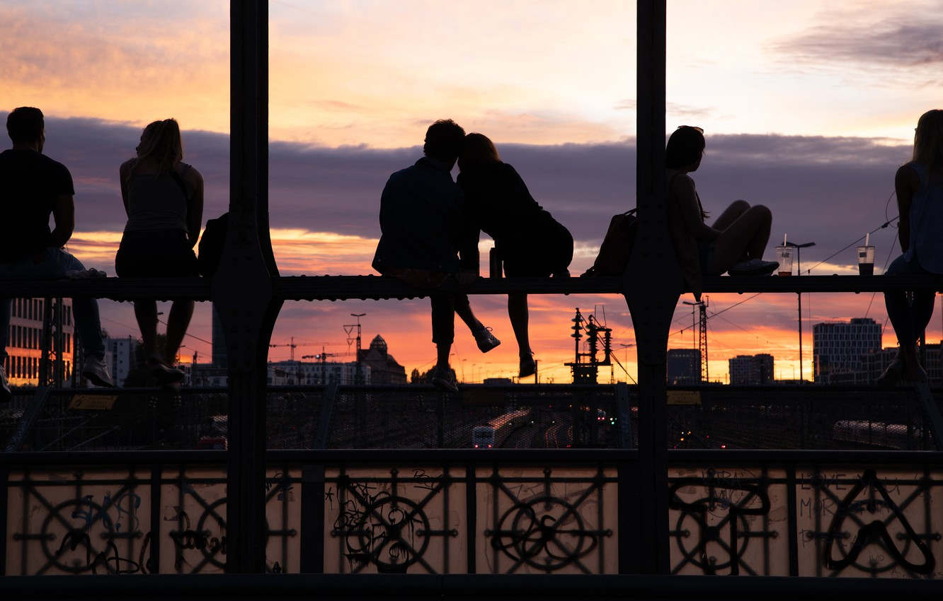Photo wallpaper bridge, the city, people, girls, mood, the evening, guys, silhouettes, youth