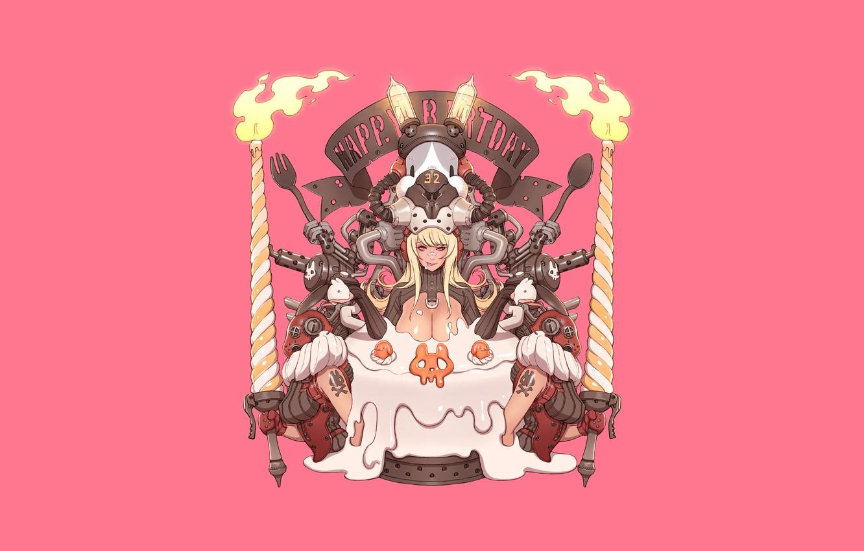 Photo wallpaper Girl, Gun, Sexy, Art, Machine, Cake, Minimalism, Characters, Rabbit, Dessert, Bunny, Candles, Ren Wei Pan, …