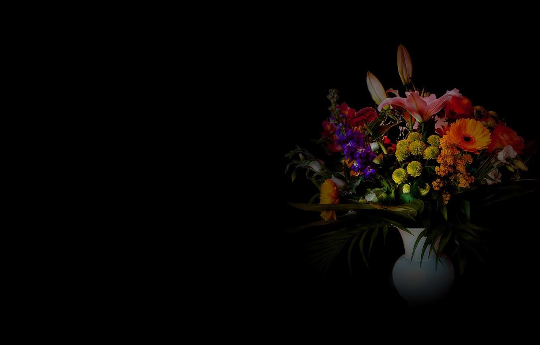 Photo wallpaper background, bouquet, vase