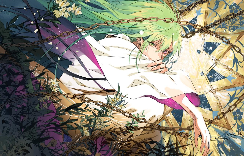 Photo wallpaper lights, hands, guy, chain, green hair, white flowers, Fate / Grand Order, Enkidu, Fate/Srange Fake, …