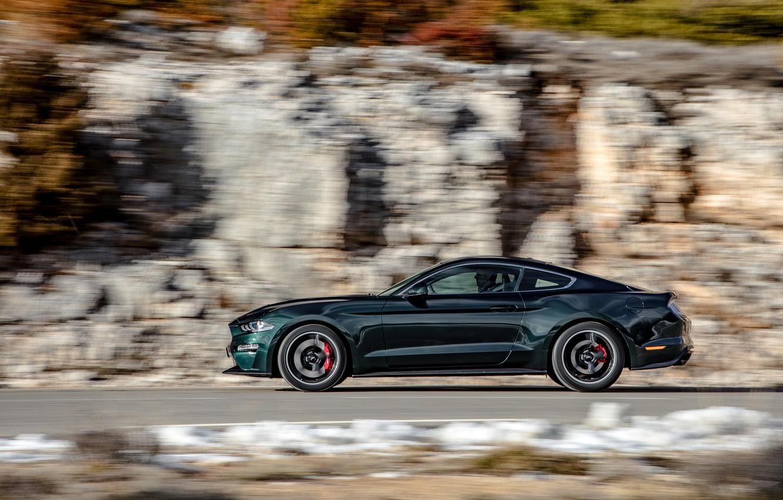 Photo wallpaper movement, Ford, profile, 2018, V8, Mustang Bullitt, 5.0 L., 460 HP, fastback