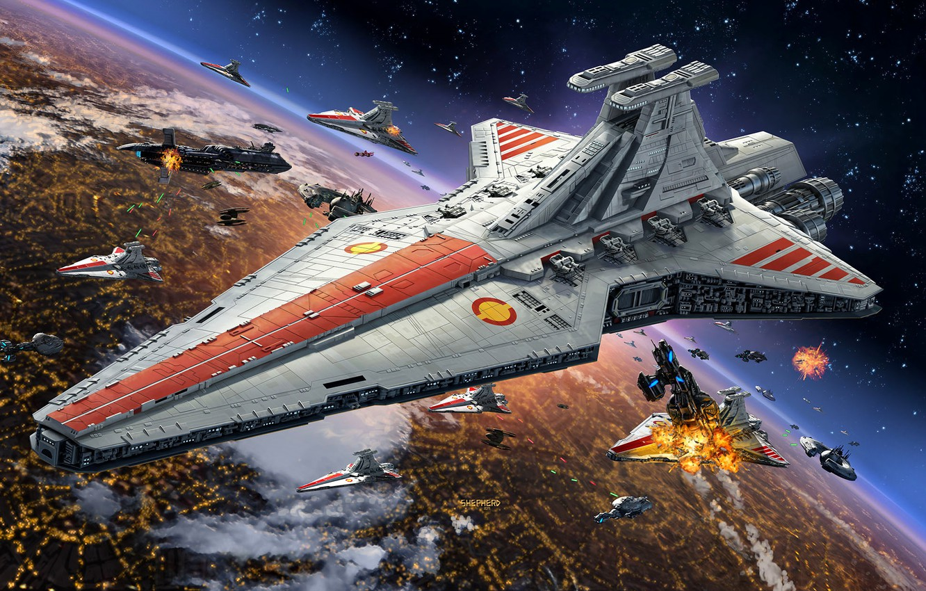 """Photo wallpaper Star Wars, Coruscant, Star destroyer, type """"Venator"""", The Galactic Republic, Navy Open Ring, in a …"""