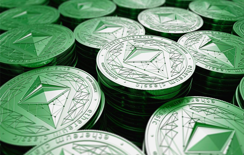 Photo wallpaper green, blur, logo, green, logo, coins, coins, etc, ethereum classic, live classic, the Ethereum classic