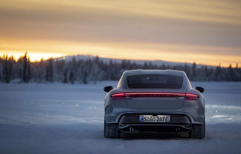 Photo wallpaper field, snow, grey, Porsche, back, 2020, Taycan, Taycan 4S
