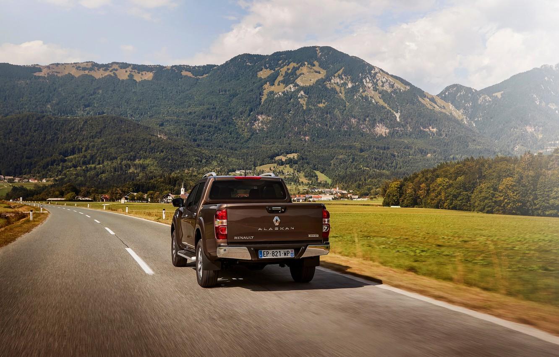 Photo wallpaper road, mountains, back, Renault, brown, pickup, 4x4, 2017, Alaskan