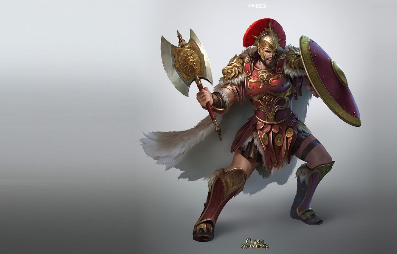 Photo wallpaper warrior, art, shield, arc noir, Clash of Civilizations