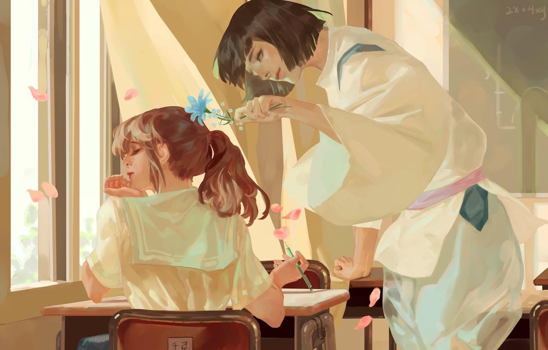 Photo wallpaper class, schoolgirl, guy, Parta, art, window, cherry blossoms, priest, sailor, from the back, flirting, Aw …