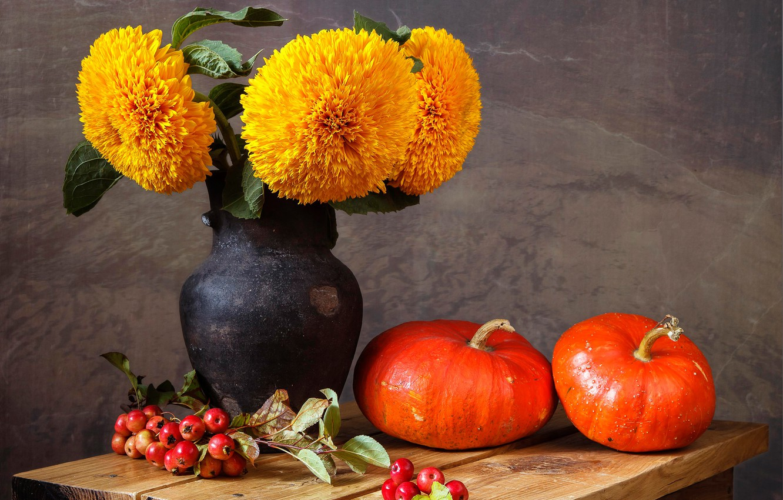 Photo wallpaper flowers, table, berry, pumpkin, vase, still life, yellow, Rowan, marigolds