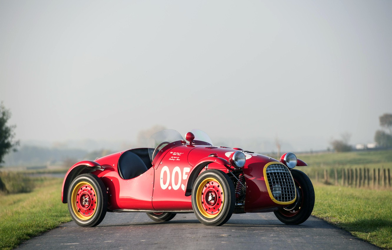 Photo wallpaper Road, Wheel, Morning, Lights, Classic, 1950, Classic car, Sports car, Giannini 750 Sport