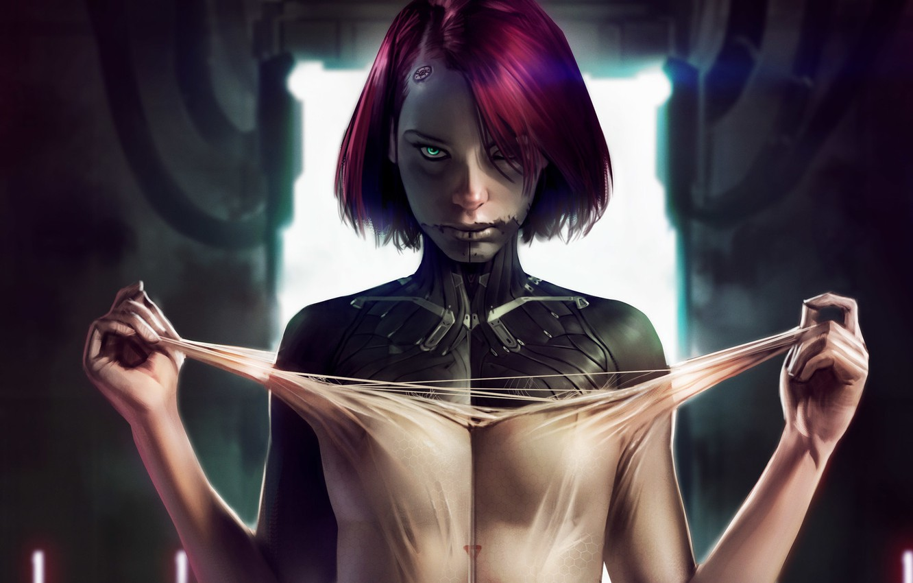Photo wallpaper look, girl, cyberpunk, art, cyberpunk, Sci-Fi
