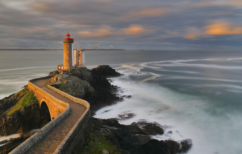 Photo wallpaper coast, France, lighthouse, Brittany Coast