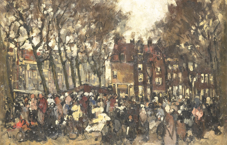 Photo wallpaper tree, oil, picture, 1906, Joannes B.A.M. Westerwoudt, Северный Рынок в Амстердаме