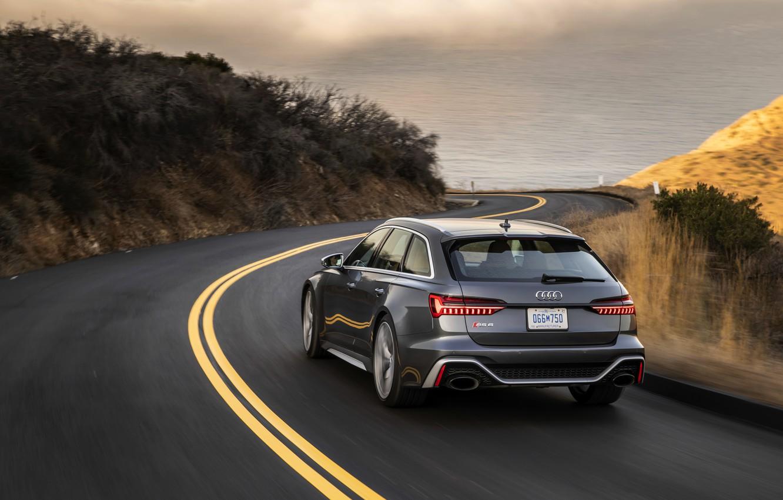 Photo wallpaper road, Audi, markup, turn, universal, RS 6, 2020, 2019, dark gray, V8 Twin-Turbo, RS6 Avant
