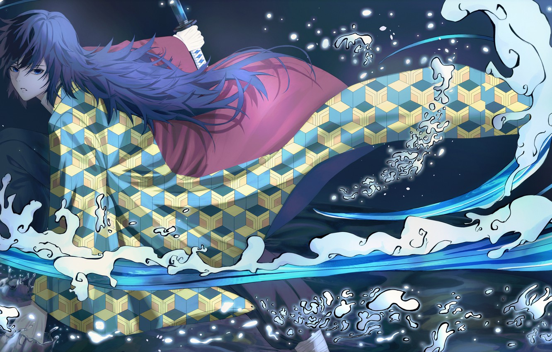 Photo wallpaper water, guy, Demon Slayer Kimetsu no Yaiba, The Blade Cleaves Demons, Giyuu Tomioka