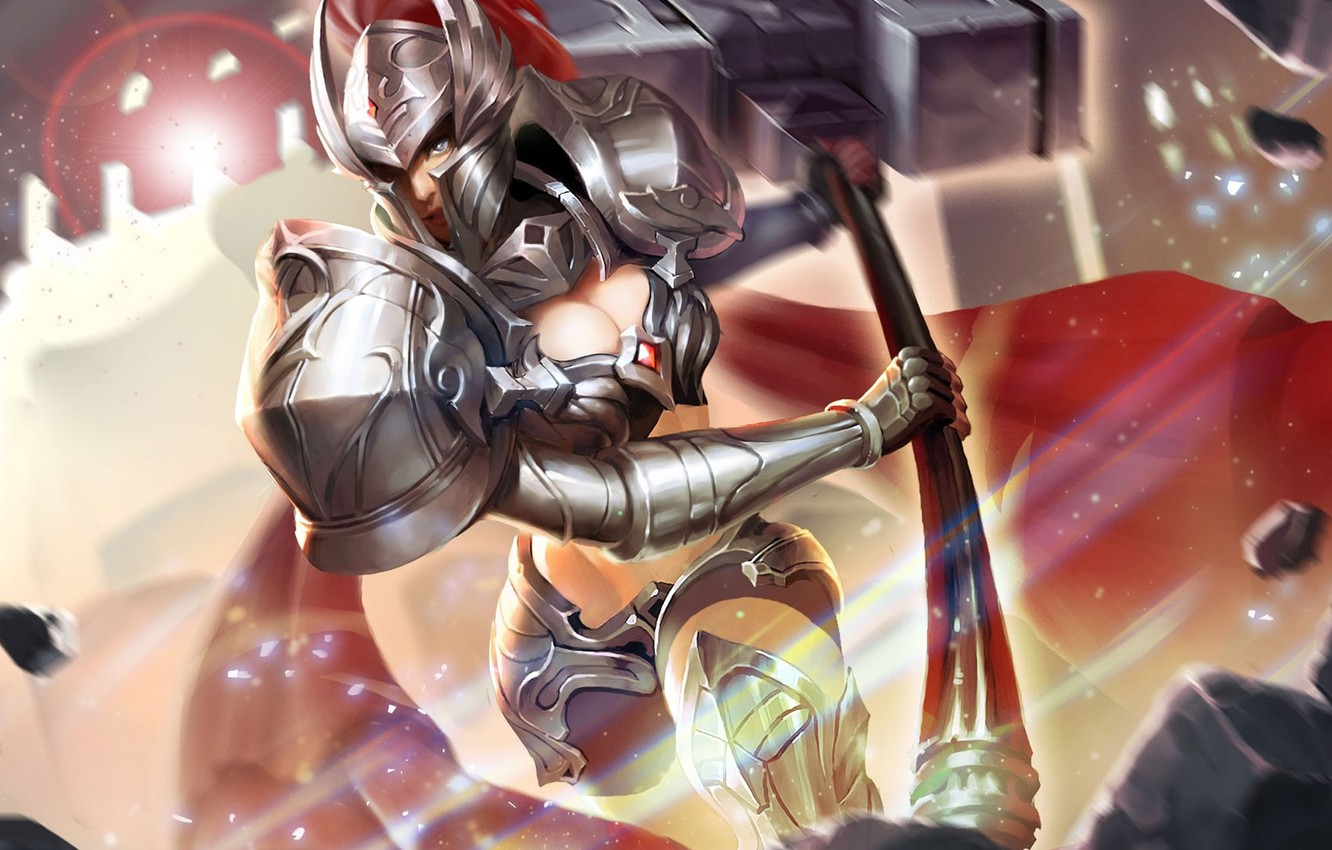 Photo wallpaper girl, the game, armor, helmet, knight, King of Glory, The king of glory