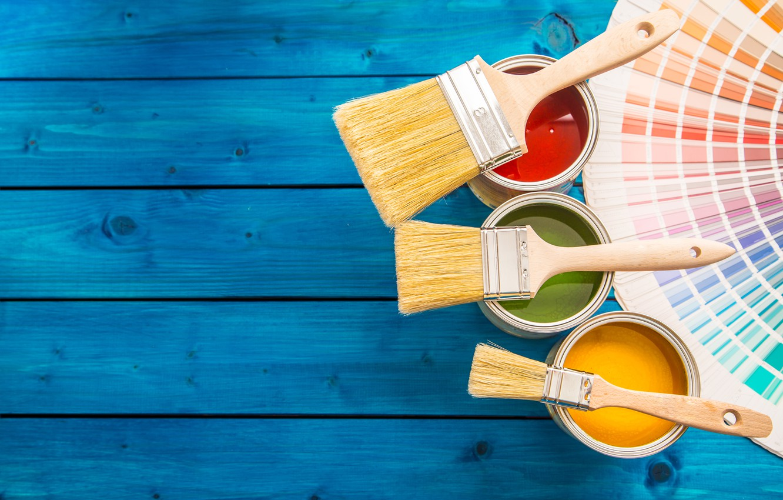 Photo wallpaper colors, wood, paint, paint buckets