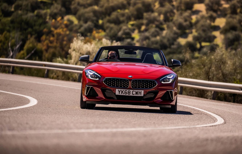 Photo wallpaper road, red, BMW, Roadster, BMW Z4, M40i, Z4, 2019, UK version, G29