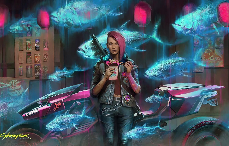 Photo wallpaper girl, rpg, video game, night city, CD Projekt RED, Cyberpunk 2077, Cyberpunk, redhair