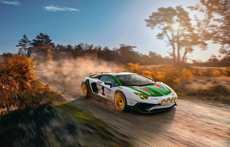 Photo wallpaper road, the sky, the sun, light, speed, Lamborghini, primer, Aventador, LP750-4 SV, Alitalia Tribute, THOMAS …