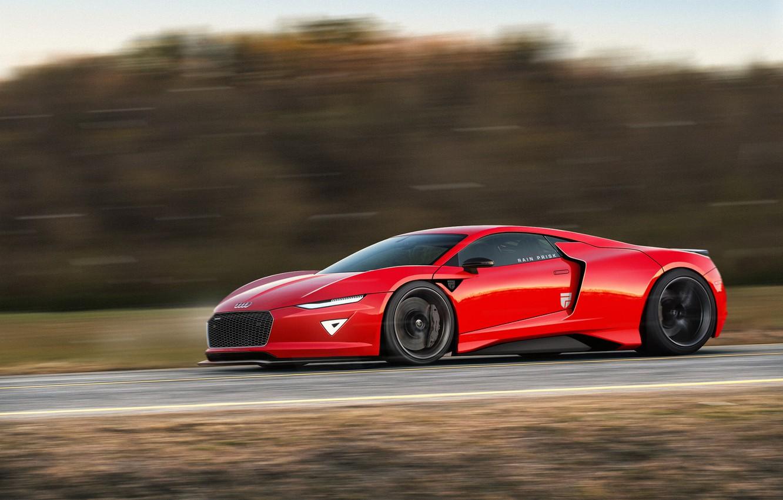 Photo wallpaper Audi, Red, Auto, Machine, Speed, Red, Audi R8, Car, Supercar, Audi Concept, Rain Prisk, by …