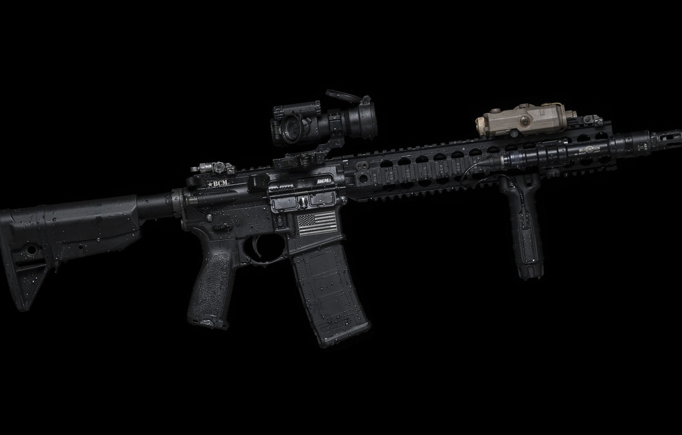 Photo wallpaper drops, weapons, background, handle, AR-15, a semi-automatic rifle