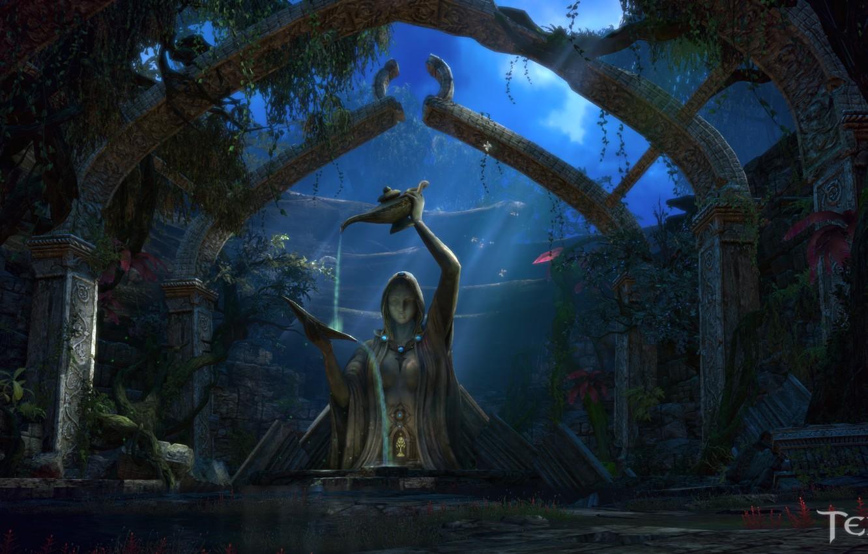 Photo wallpaper night, lamp, statue, moonlight, Tera