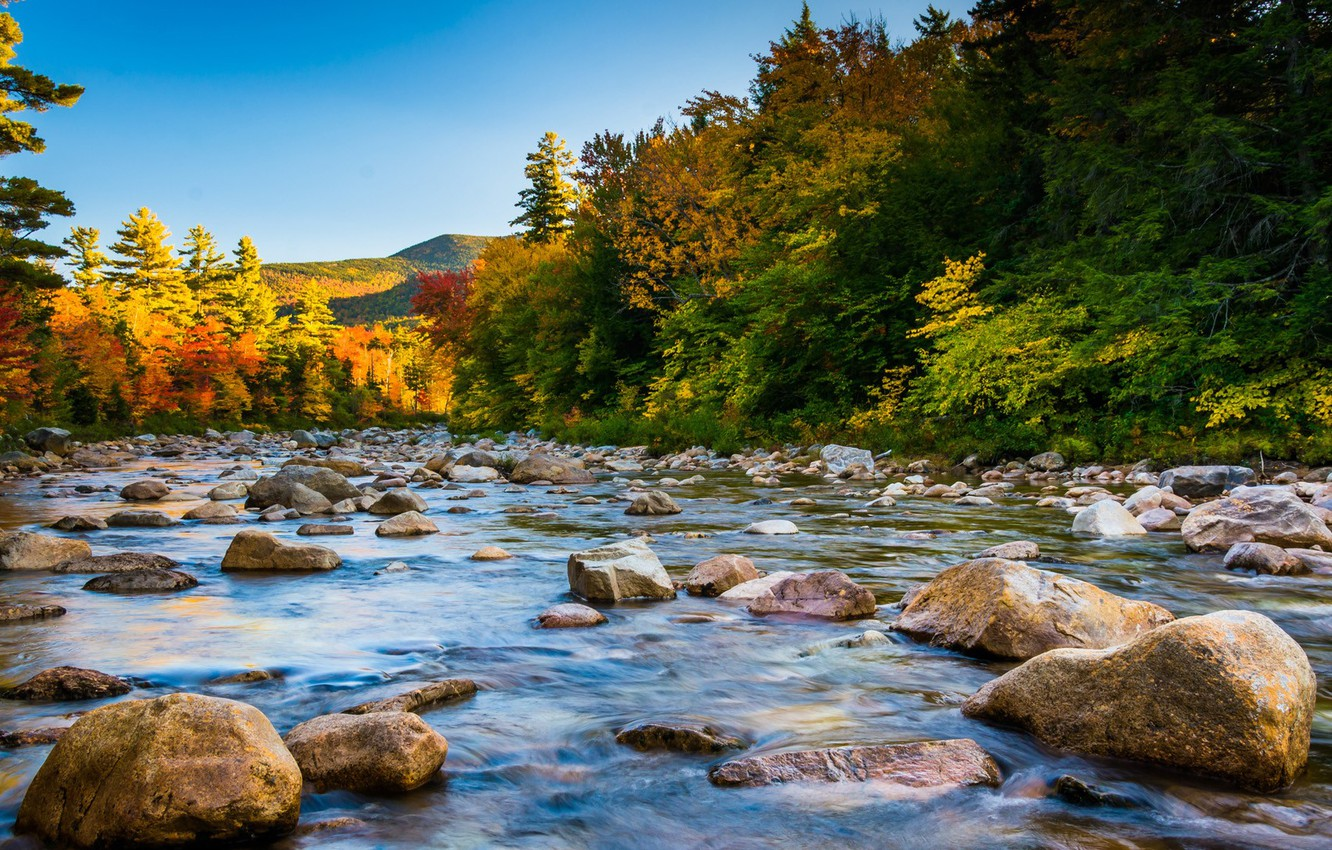 Photo wallpaper USA, forest, river, sky, trees, landscape, nature, water, mountains, rocks, stones, fall, New Hampshire, White …