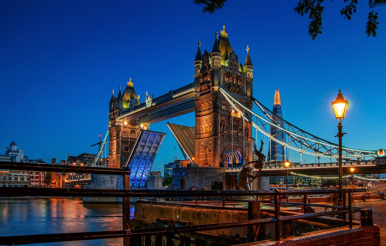 Photo wallpaper bridge, lights, England, London, the evening