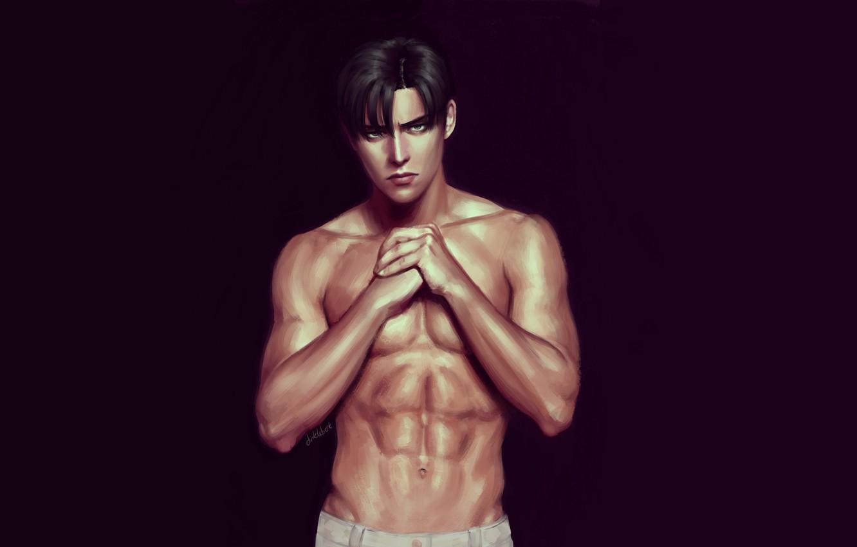 Photo wallpaper background, guy, handsome, naked torso, Attack Of The Titans, Shingeki No Kyojin, Levi Ackerman, Levi, …