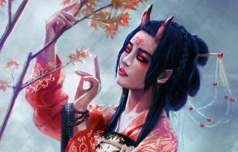 Photo wallpaper look, tree, Japan, fantasy, art, horns, kimono, demoness, horns