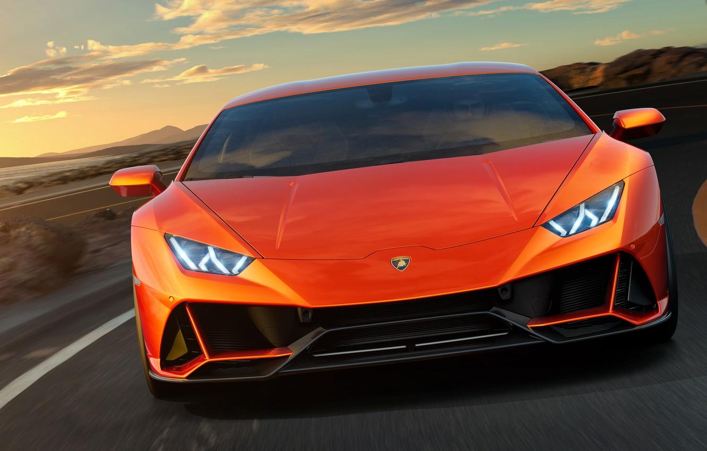 Photo wallpaper Lamborghini, supercar, front view, Evo, Huracan, 2019, Lamborghini Huracan Evo