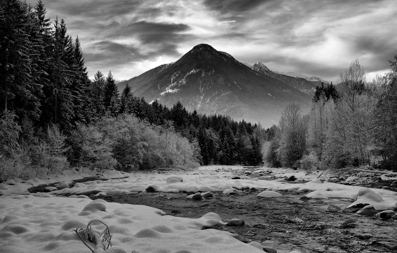 Photo wallpaper winter, forest, the sky, clouds, snow, mountains, nature, river, rocks, black & white, black and …