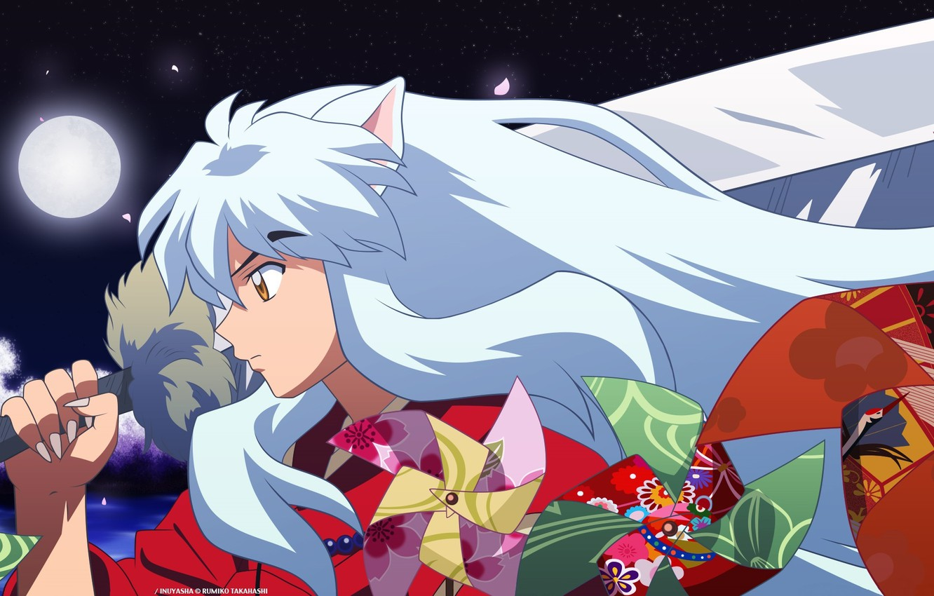 Photo wallpaper night, pattern, the demon, turntables, the full moon, ears, art, in profile, red suit, Inuyasha, ...