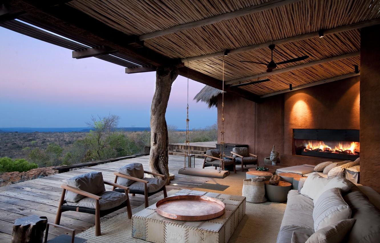 Photo wallpaper furniture, fireplace, terrace, South Africa, lodge Leobo