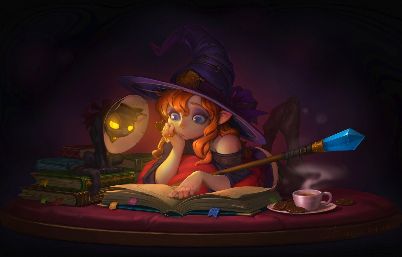 Photo wallpaper cat, magic, tea, the evening, mirror, cookies, fantasy, art, book, staff, witch, children's, JIANFENG XING, …