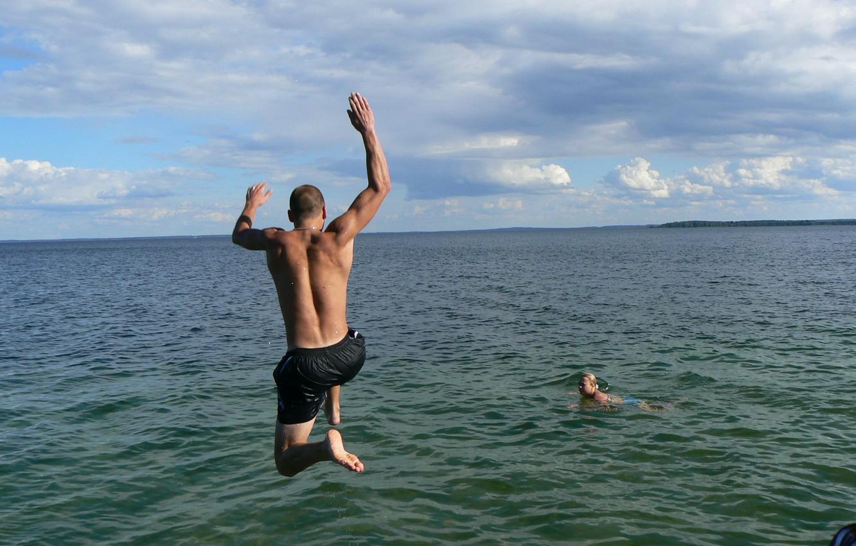 Photo wallpaper joy, lake, jump, guy, muscle, youth, Belarus, my photo, Naroch