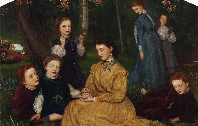 Photo wallpaper Arthur Hughes, Portraits of children of William and Ann Pattison, Picnic birthday