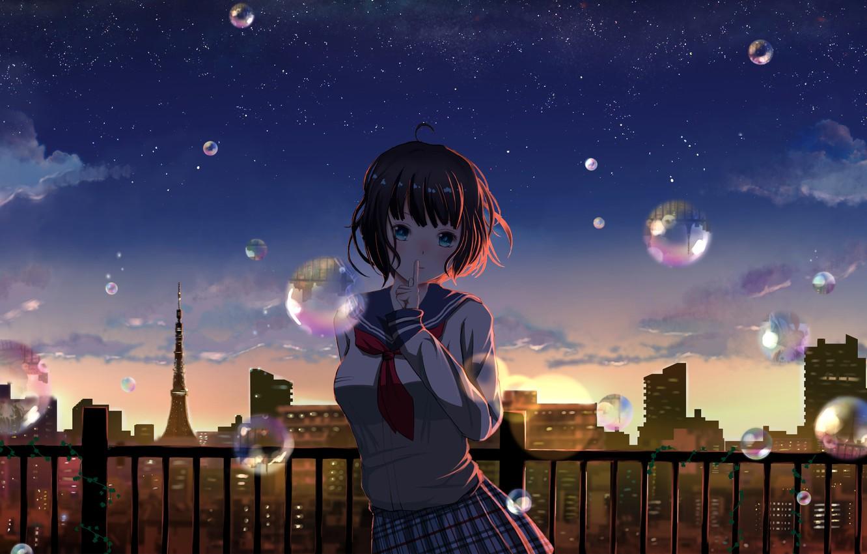 Photo wallpaper the city, bubbles, girl