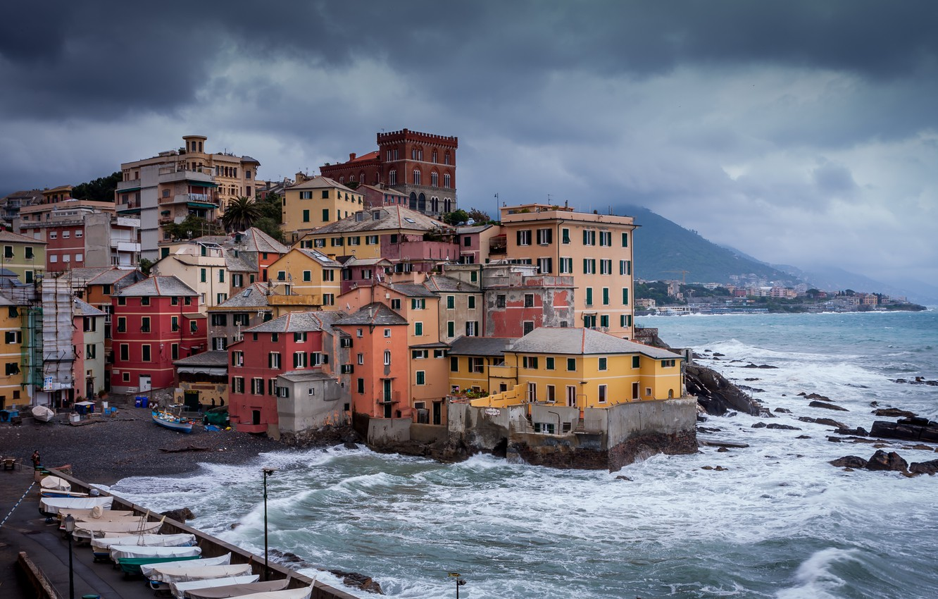 Photo wallpaper sea, mountains, clouds, storm, the city, home, boats, Italy, Genoa, Boccadasse, Boccadasse