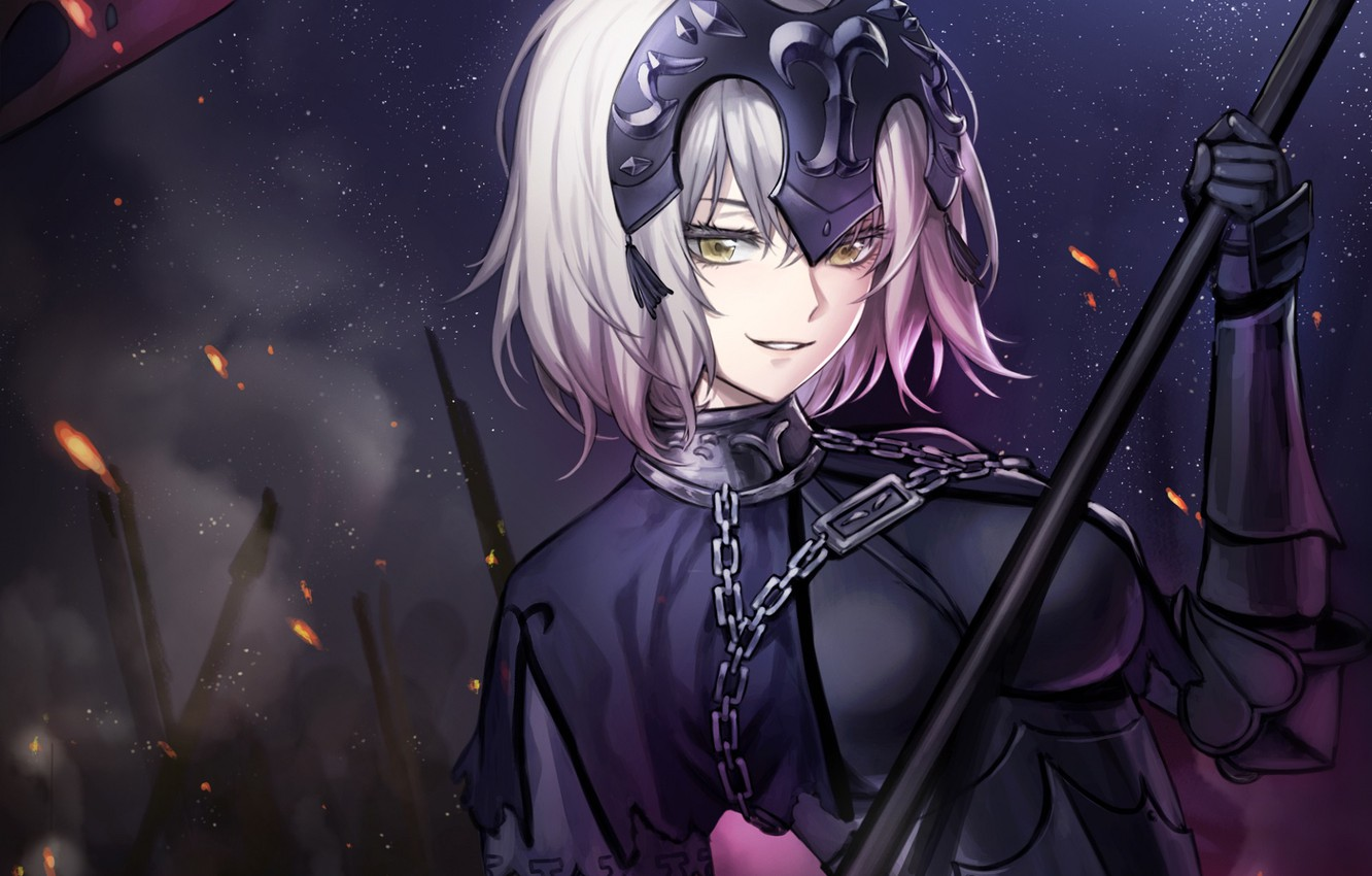 Photo wallpaper girl, night, Joan of arc, Fate / Grand Order, The destiny of a great campaign
