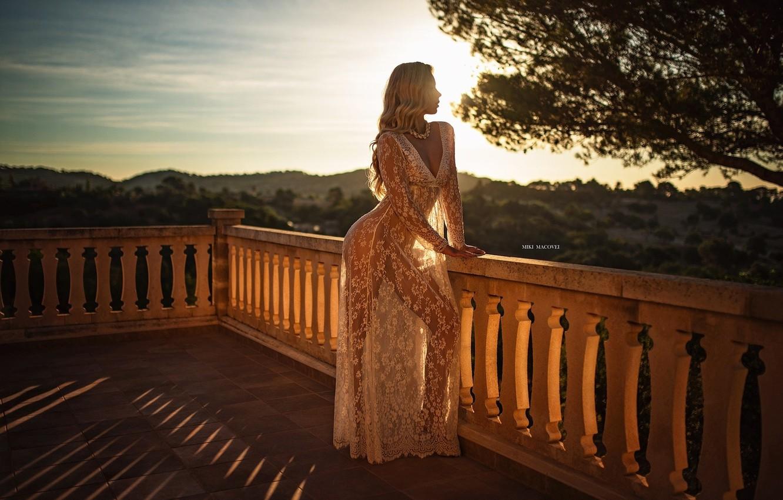 Photo wallpaper girl, cleavage, long hair, dress, breast, photo, sunset, photographer, tree, model, bokeh, lips, blonde, chest, …