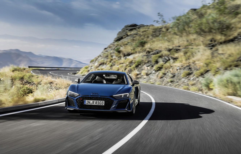 Photo wallpaper asphalt, movement, Audi, sports car, Audi R8, V10, quattro performance