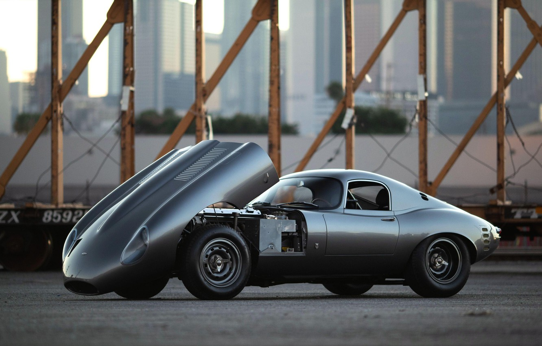 Photo wallpaper Grey, The hood, Jaguar E-Type, Sports car