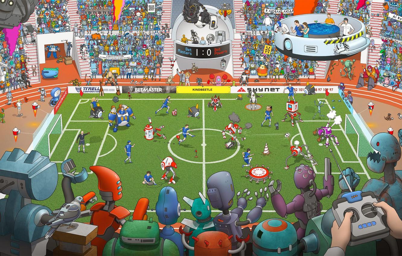 Photo wallpaper Field, Robots, People, Football, Robots, Fiction, Match, The audience, Football, Stadium, Cyborgs, by Max Degtyarev, …