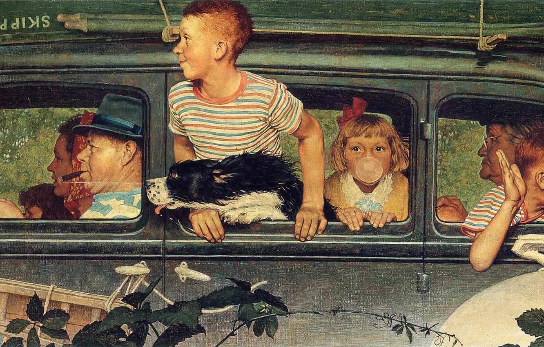 Wallpaper Machine Dog Trip Illustration Adults And Children